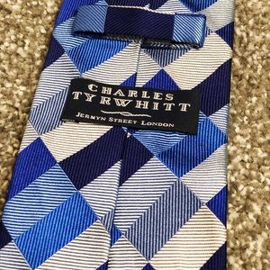 Charles Thrwhitt blue checked silk tie
